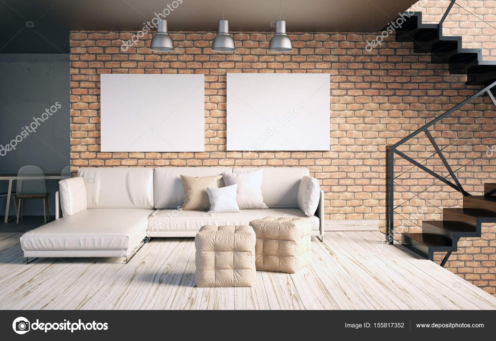 Mock up poster all\'interno con scale e divano. soggiorno anca — Foto ...