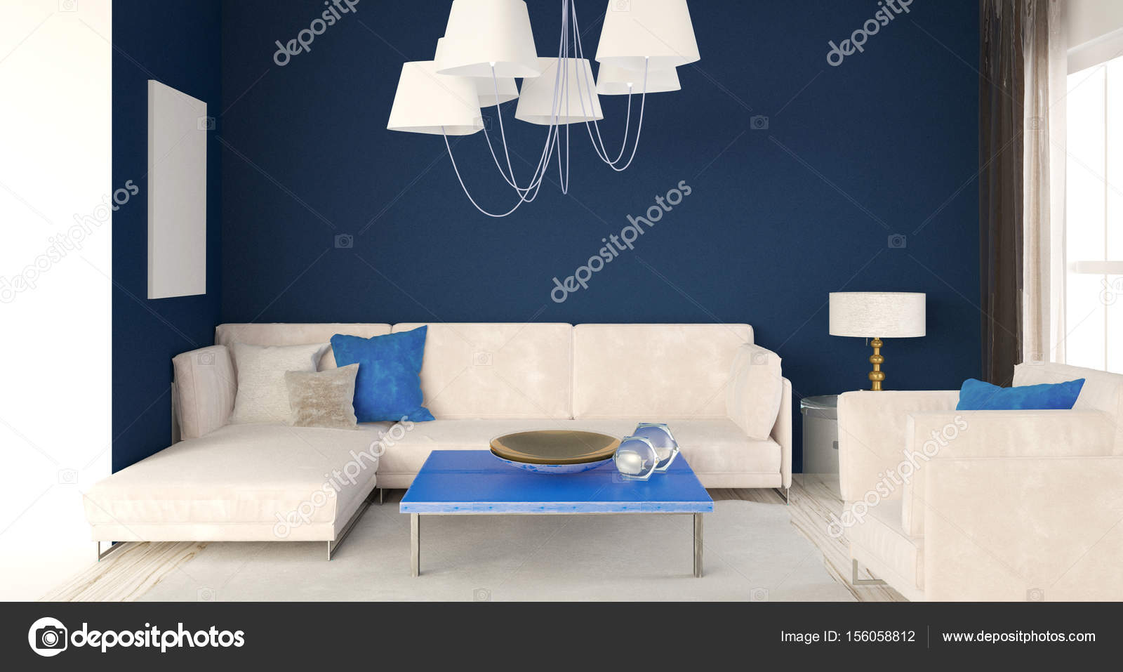 Deridere sul muro interno con divano. soggiorno stile moderno — Foto ...