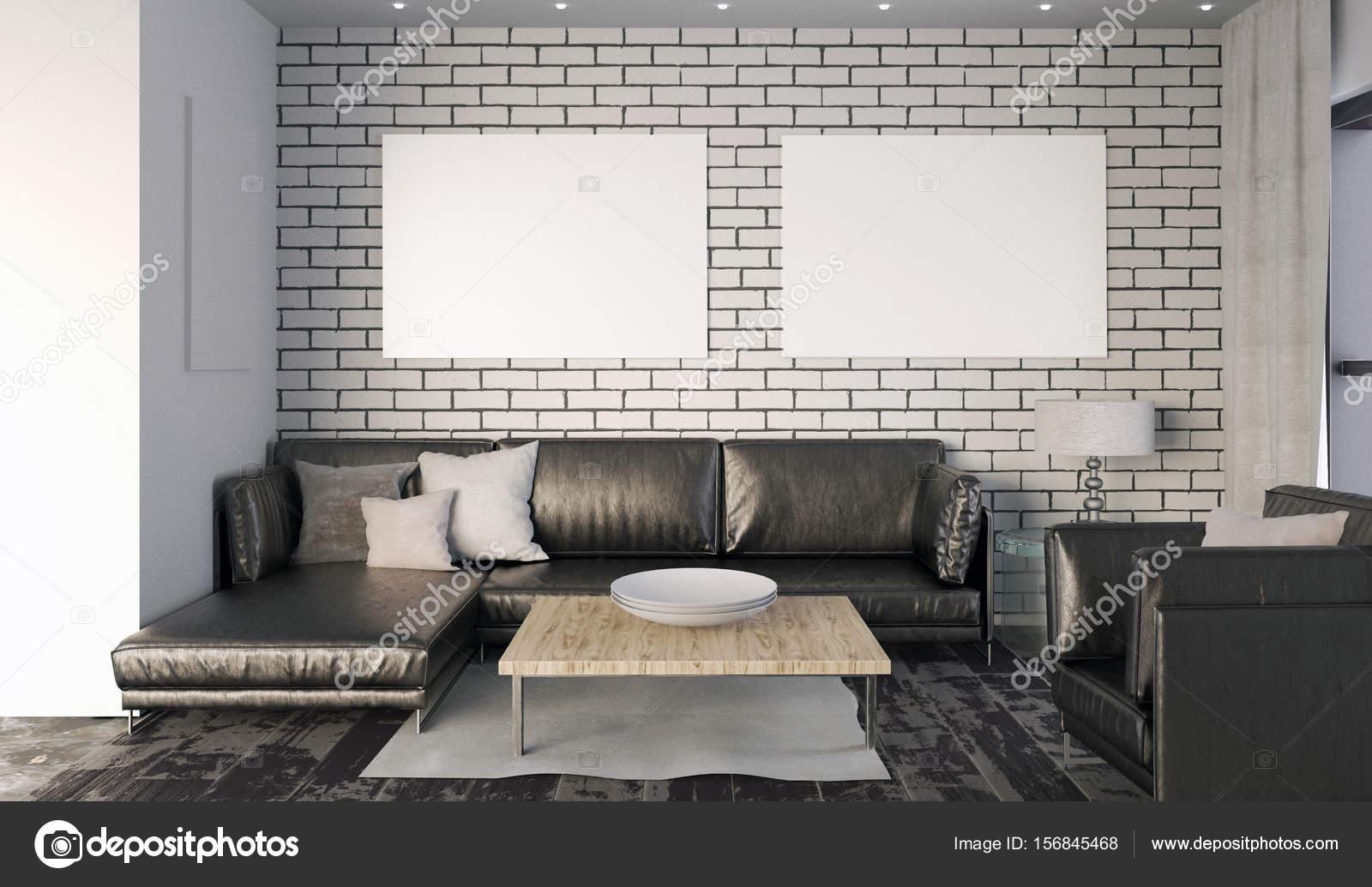 Maquette affiche en intérieur avec canapé. salon style ...