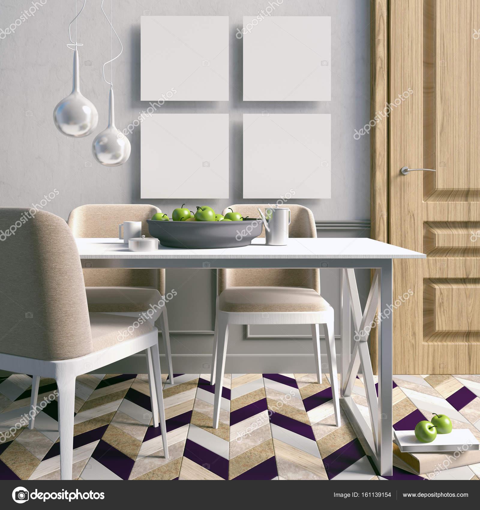 Mock Up Plakat Im Innenraum Mit Essbereich. Moderne Wohnzimmer U2014 Stockfoto