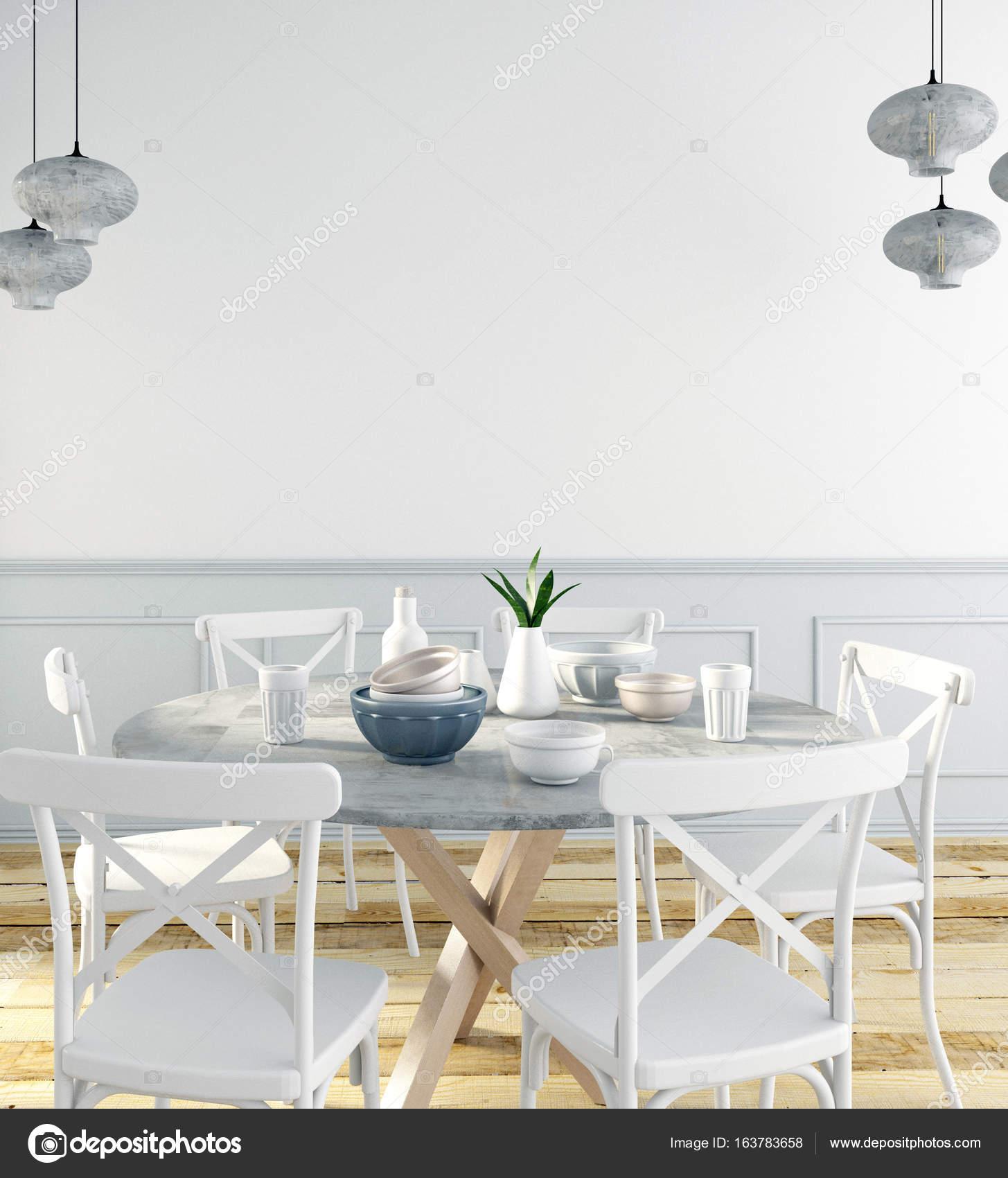 Mock Up Wand Im Innenraum Mit Essbereich. Moderne Wohnzimmer. 3D  Illustration U2014 Foto Von Abracada