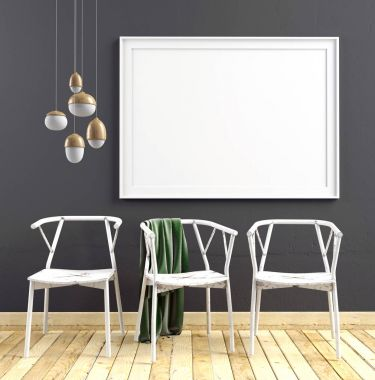 3d illustration, modern interior with  poster and chair. poster