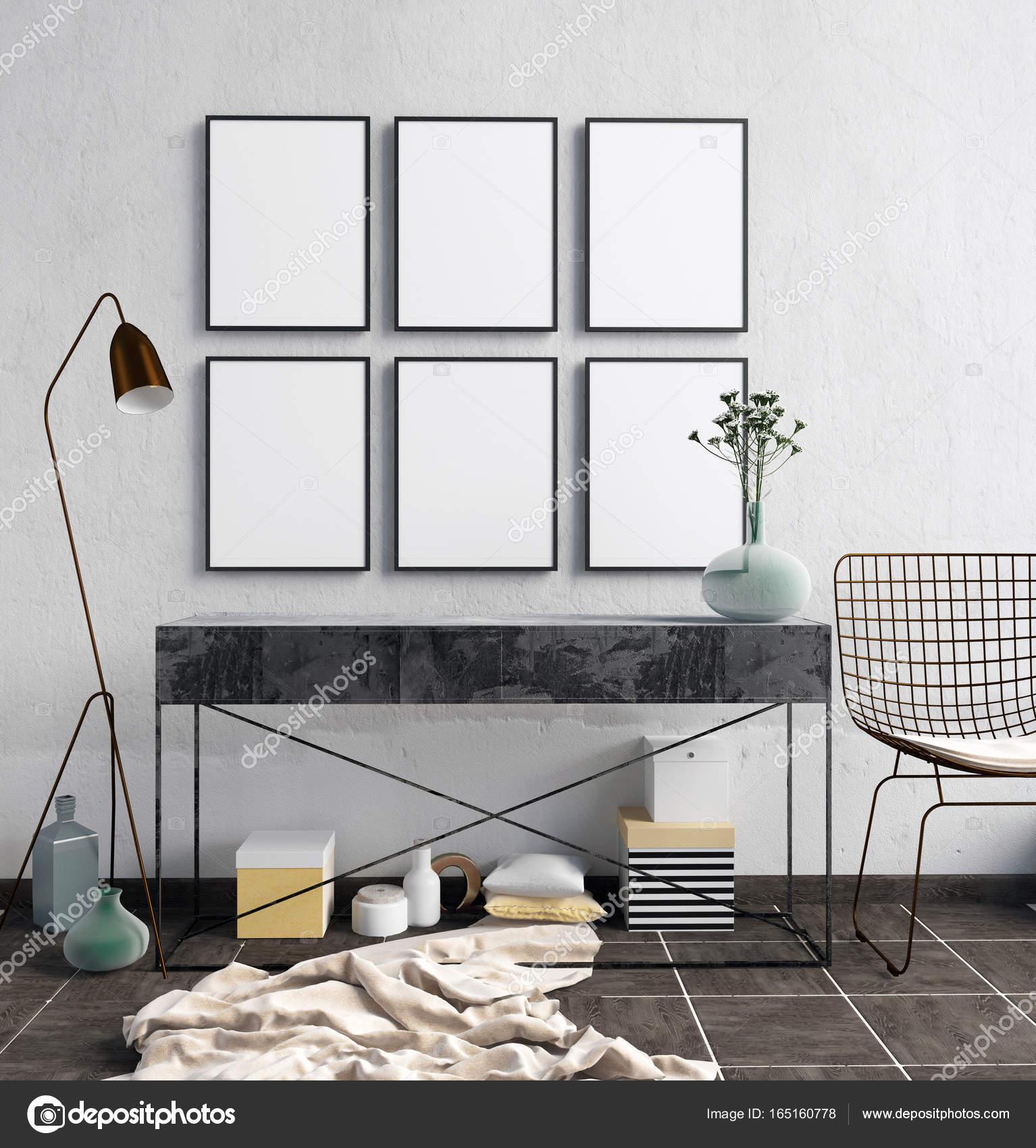3D Abbildung des modernen Interieurs mit Regalen, Plakate und la ...