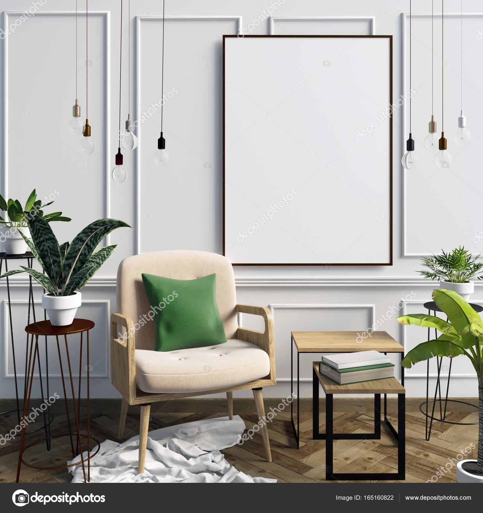 3D Illustration, modernes Interieur mit Rahmen, Poster und Stuhl. p ...