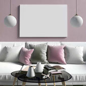 Vysmívat se plakát v interiéru s konferenčním stolkem a pohovkou. obývací ro