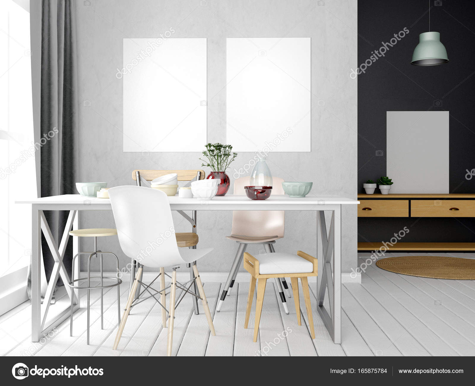 Eethoek In Woonkamer : Mock up poster in interieur met eethoek moderne woonkamer