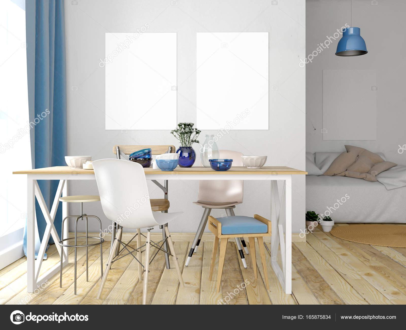 Eethoek In Woonkamer : Mock up poster in interieur met eethoek. moderne woonkamer