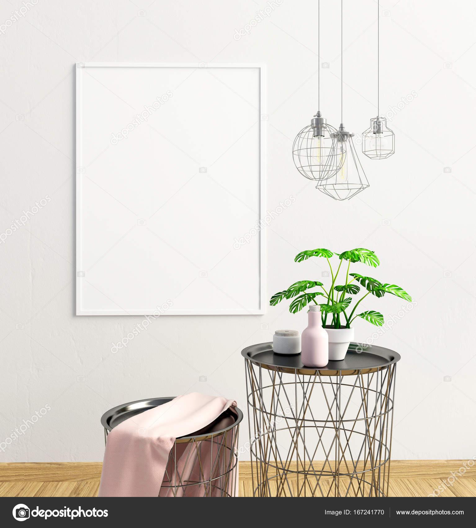 Modernes Interieur des skandinavischen Stil. 3D Illustration. Plakat ...