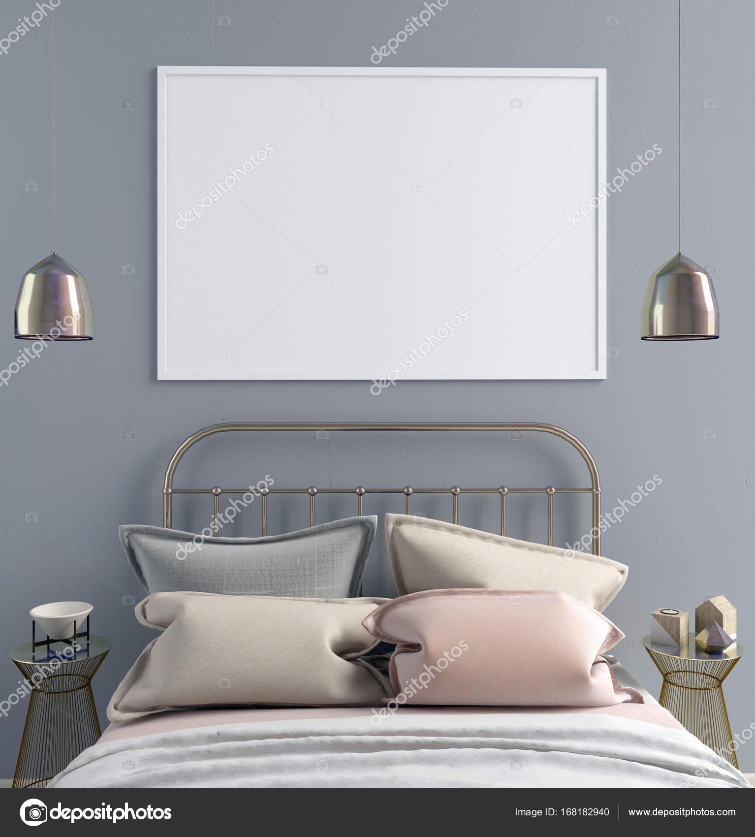 Mock-up Plakat im Schlafzimmer Inneren. Skandinavischen Stil ...