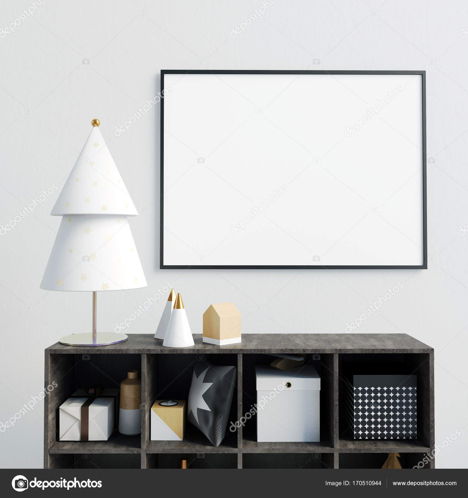 Modern Christmas interior with credenza, Scandinavian style. pos ...