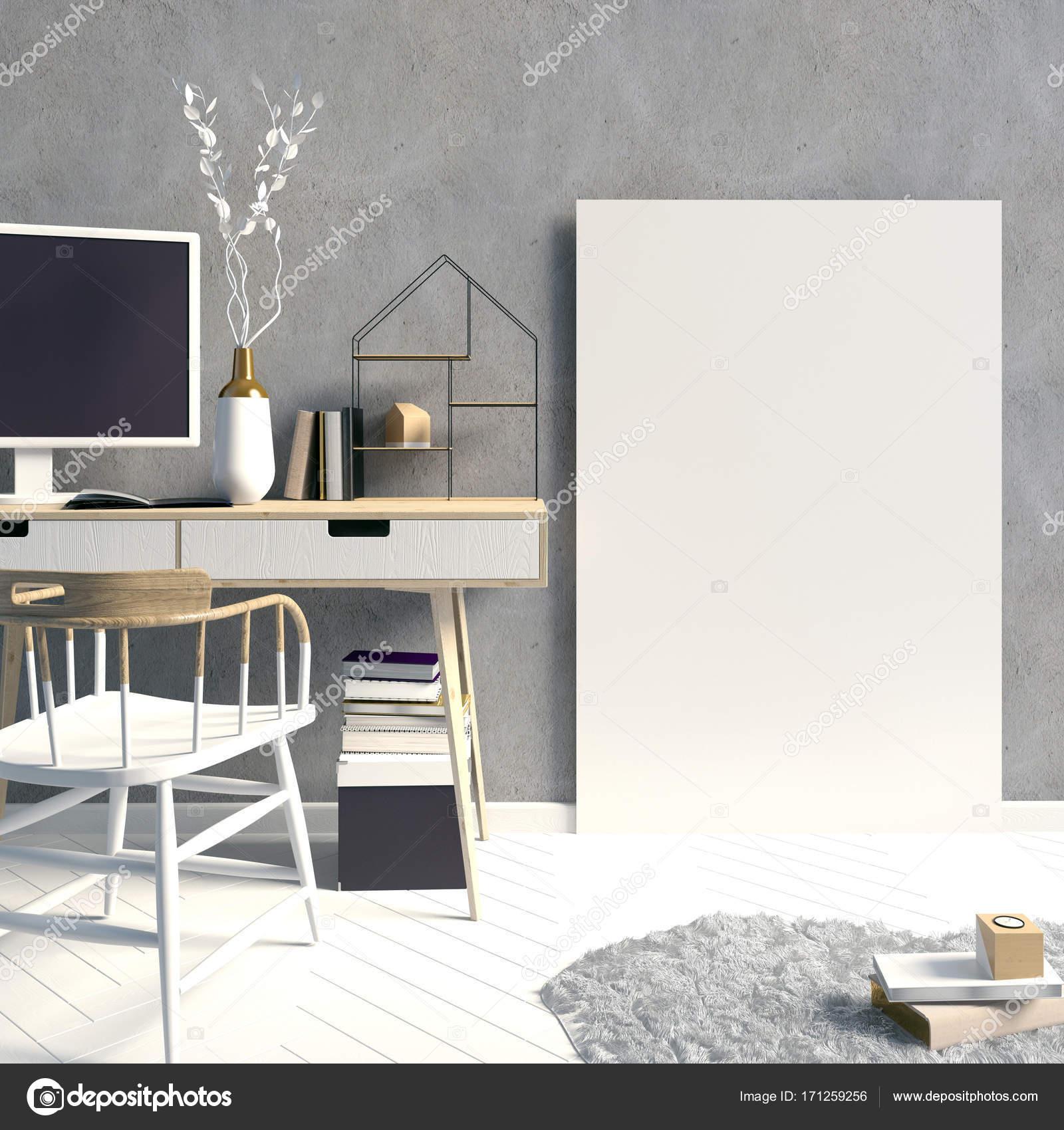 Moderne Scandinavische stijl interieur, een plek voor study.3d afb ...