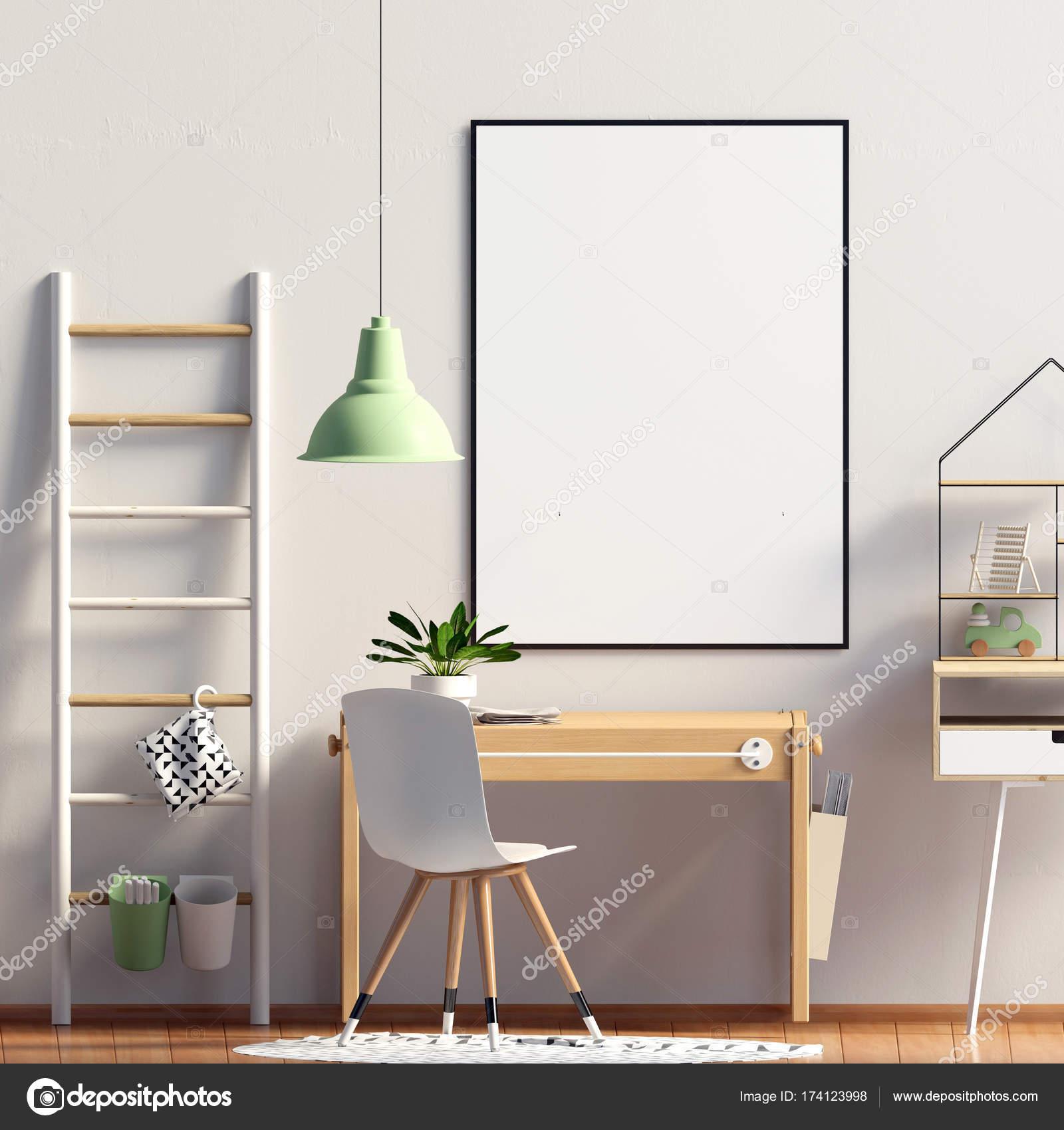 Pastel Chambre Du0027enfant. Salle De Jeux. Style Moderne. Illustration 3D.  Affiche Mock Up U2014 Image De ...
