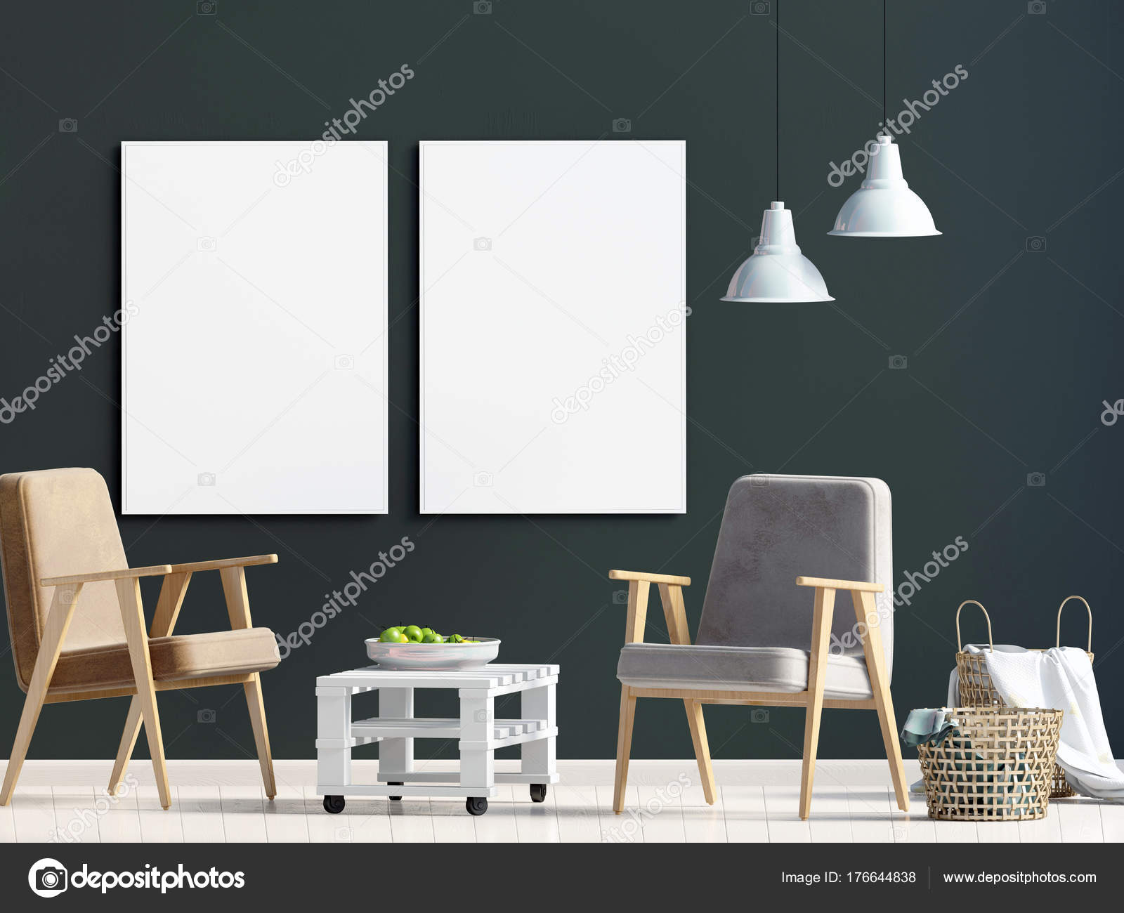 Modernes interieur mit stuhl mock up posterl d illustration