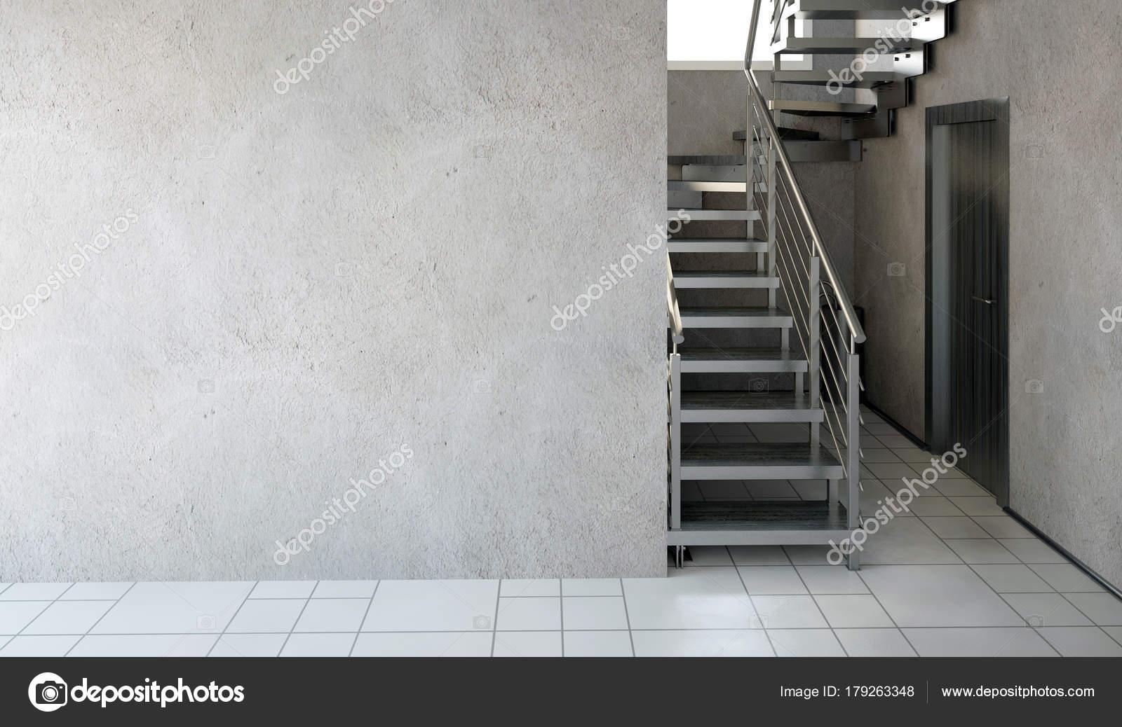 Scale A Muro Per Interni.Interni Moderni Con Le Scale Illustrazione 3d Deridere Sul