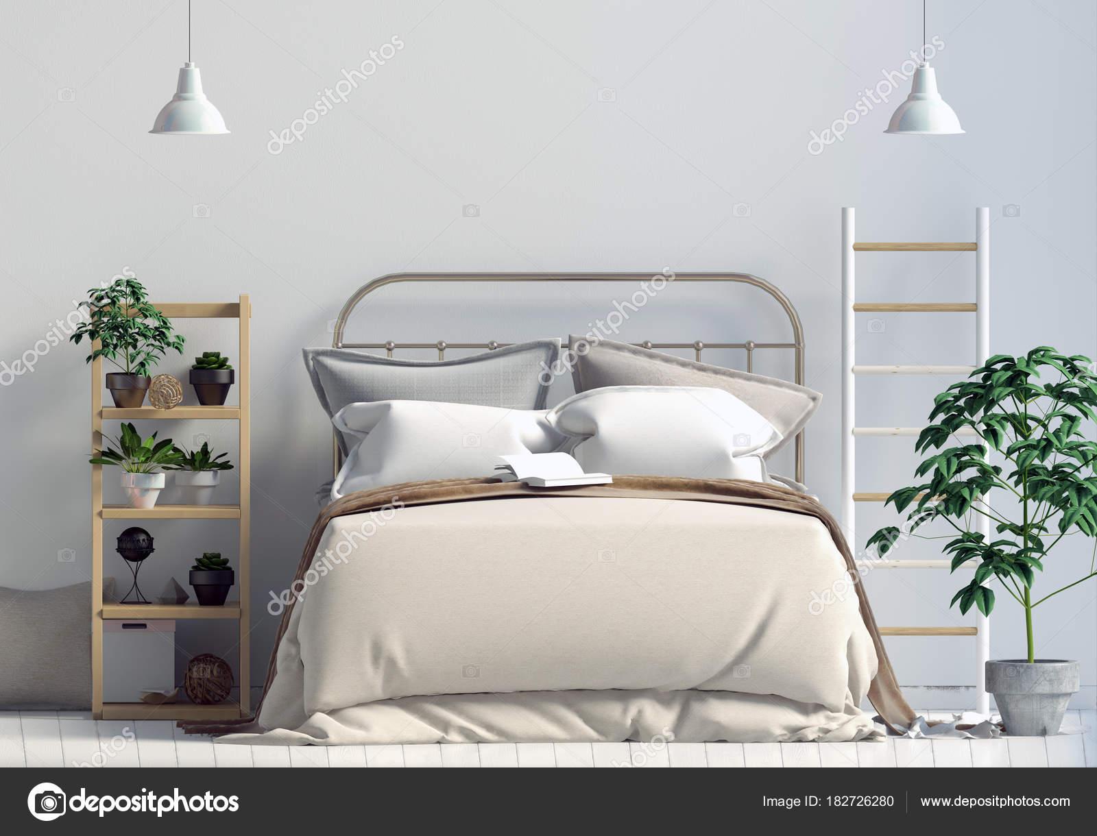 Slaapkamer Scandinavische Stijl : Bespotten muur in de slaapkamer interieur slaapkamer
