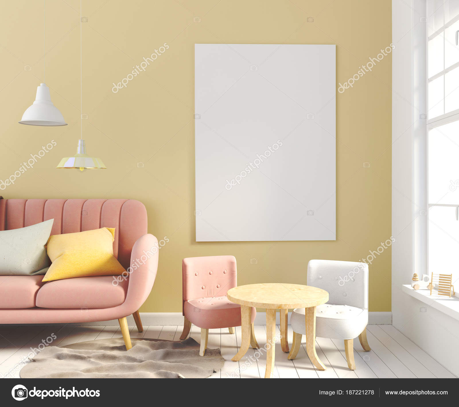 Pastel chambre d\'enfant. salle de jeux. style moderne. illustration ...