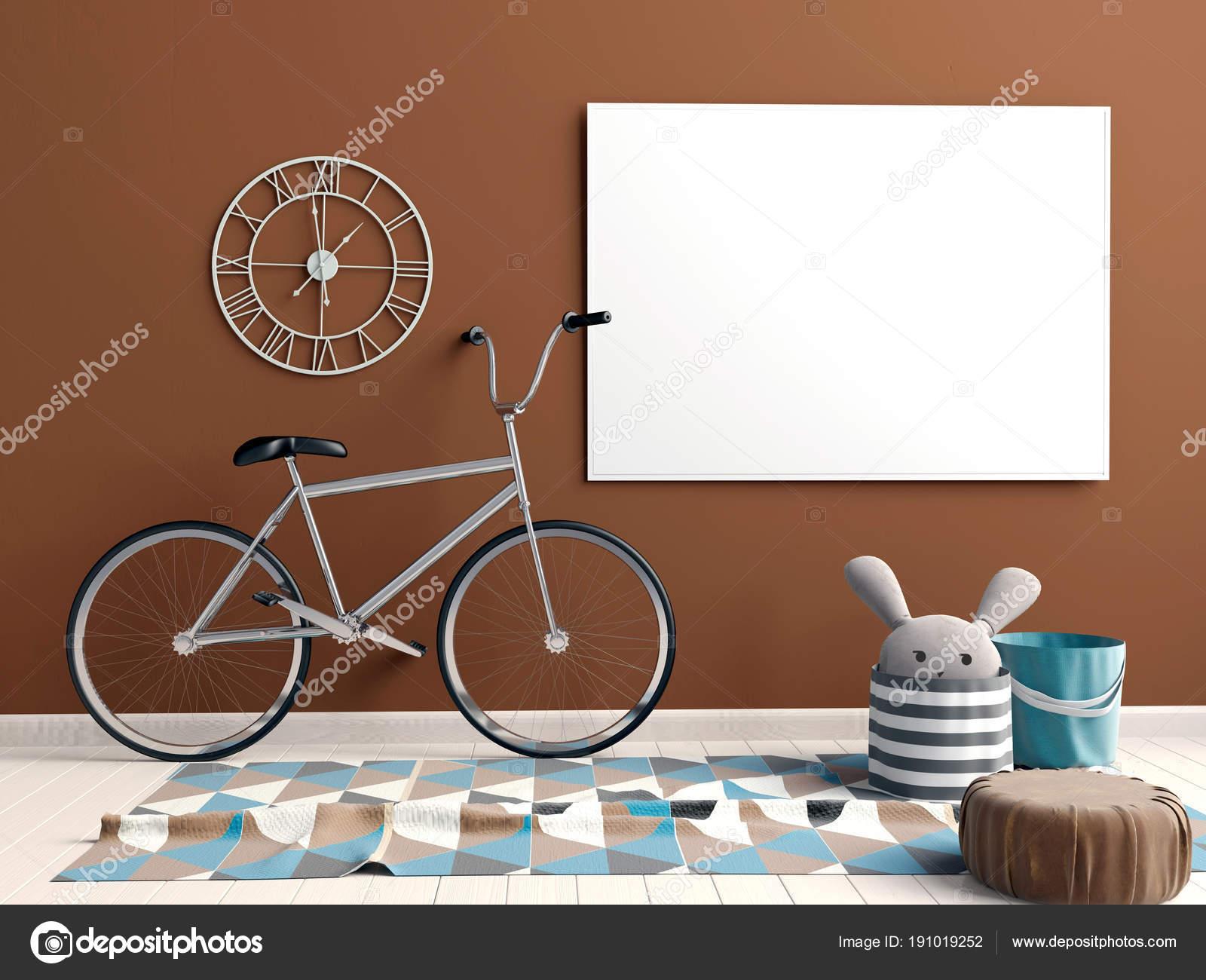 Modernes interieur mit plakaten und fahrrad mock up poster d il