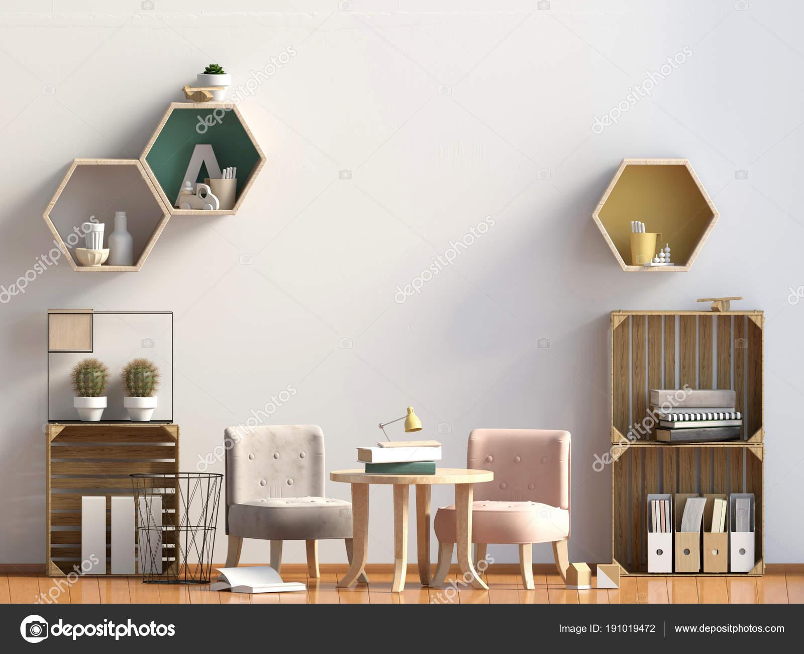 Pastel Chambre Du0027enfant. Salle De Jeux. Style Moderne. Illustration 3Du2013  Images De Stock Libres De Droits