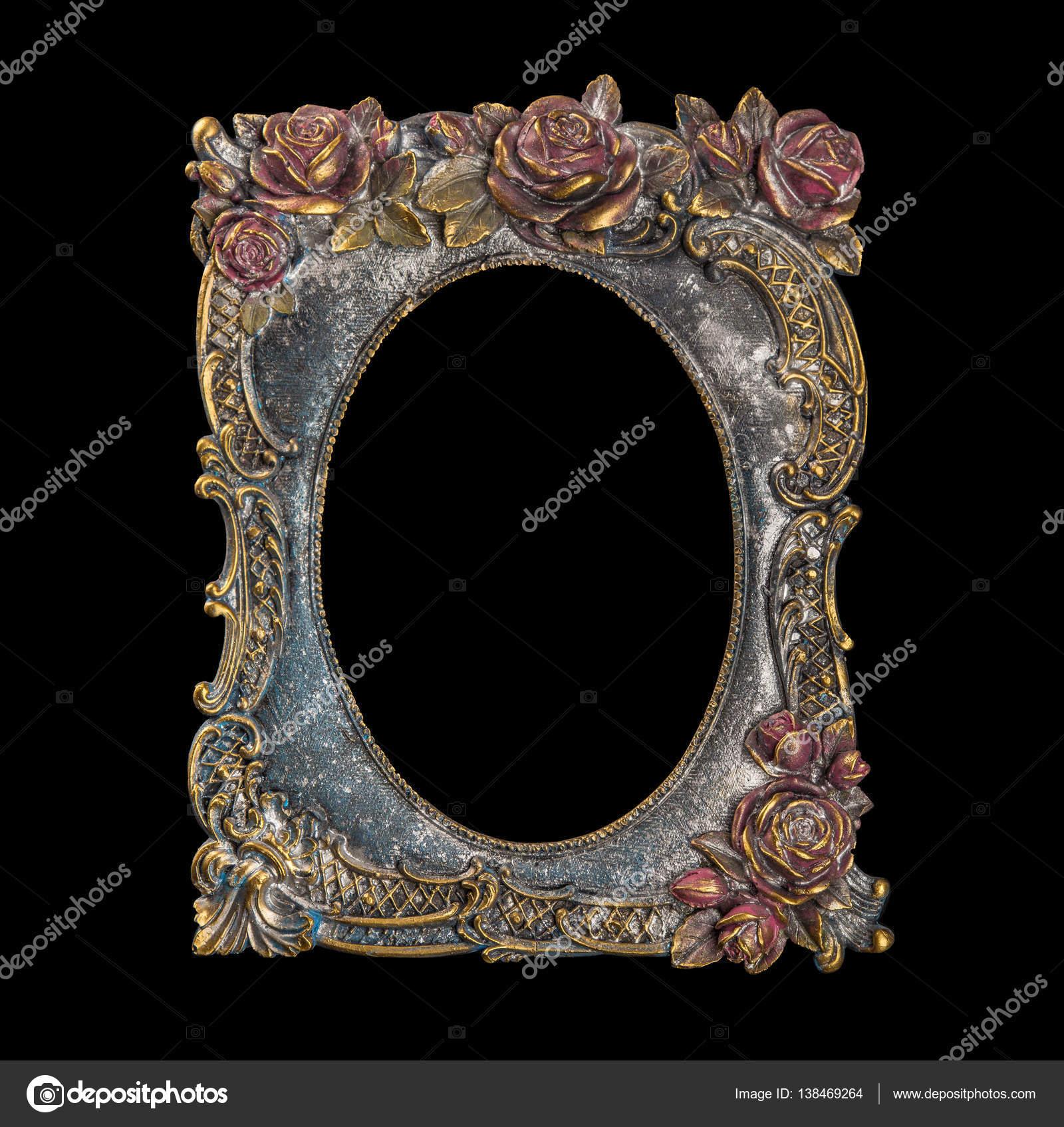 bronce marco para cuadros y espejos en un fondo negro — Foto de ...
