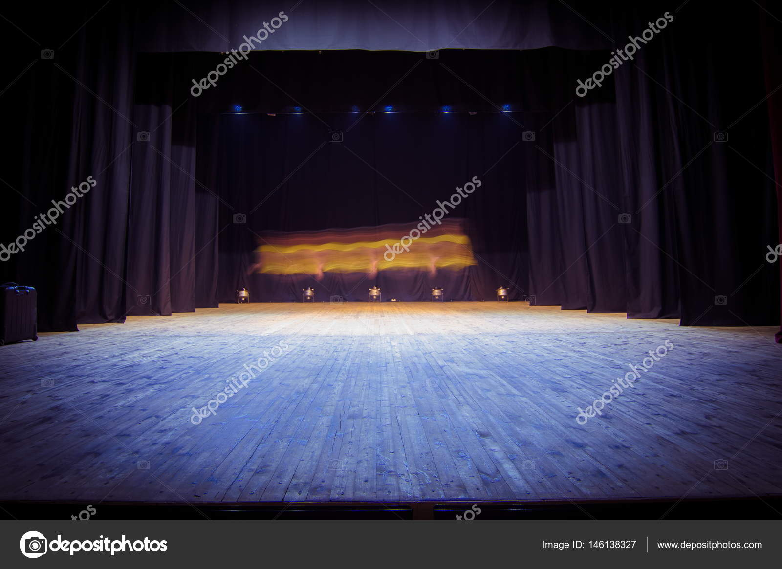 An Empty Stage Of The Theater Lit By Spotlights Before Performance Photo Kozlik