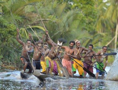 Canoe war ceremony of Asmat people