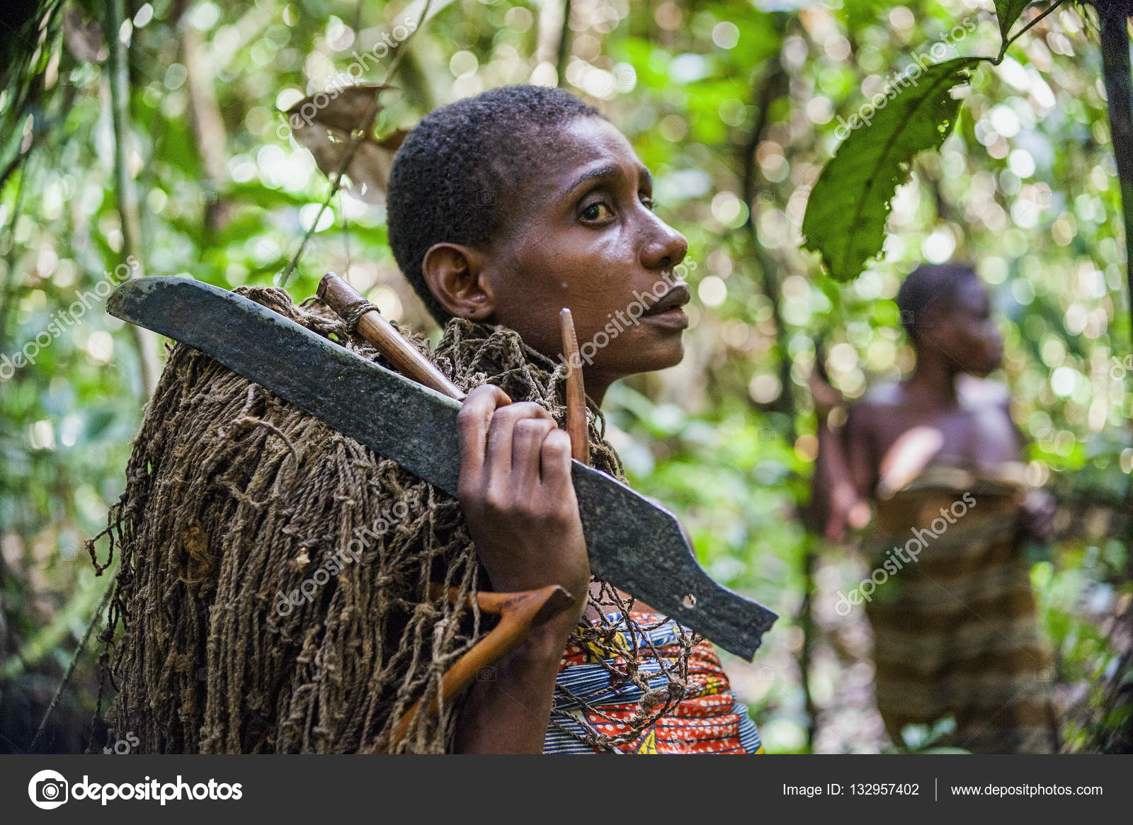 DZANGA SANGHA FOREST RESERVE CENTRAL AFRICAN REPUBLIC CAR AFRICA 2008 NOVEMBER 2 Jungle Portrait Of A Woman From Baka Tribe Pygmies