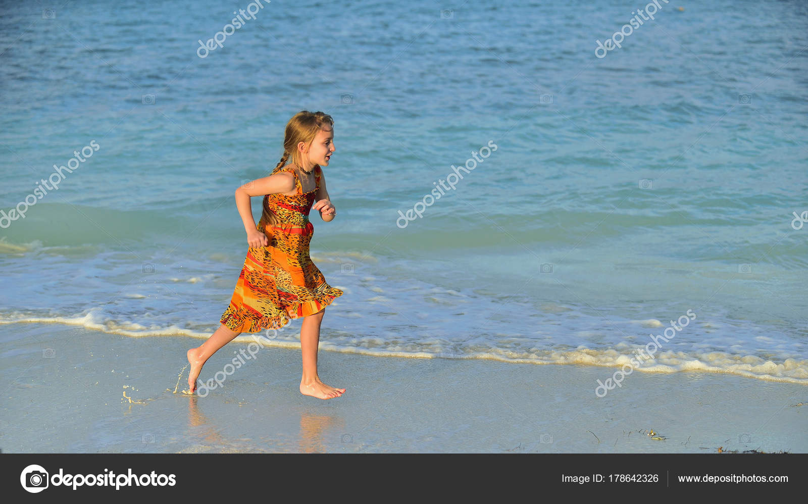 Cute Little Girl Running Beach Sunset Light Cuba Stock Photo