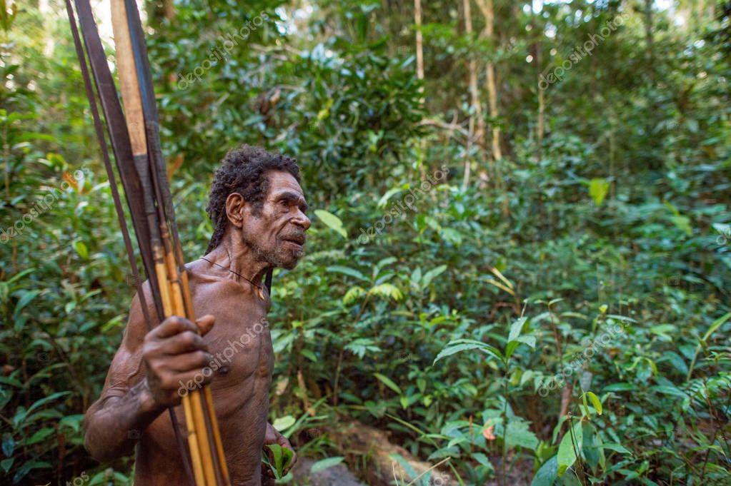 WILD JUNGLE OF NEW GUINEA ISLAND, INDONESIA - JUNE 24: Papuan from Korowai (Kolufo) tribe with bows and arrows in the wild jungles of New Guinea. June 24, 2016, New Guinea, Indonesia