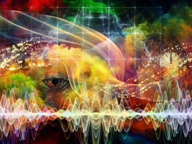 Collage of lizard eye, clock, waveforms, numbers, grids and colorful nebula on the subject of science, thinking, education and metaphysics. stock vector