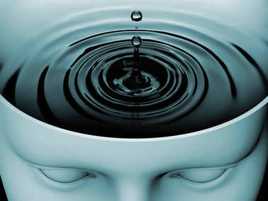 Water ripples in human head as conceptual illustration of mind space