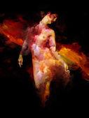 Přes mé jméno série. Proužek červené barvy přes ženské postavy znázorňují zlomené srdce, zoufalství, oddělení, samota