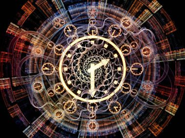 Time Connection series. Design composed of time and fractal geometry symbols as a metaphor on the subject of past, future, time travel and modern science stock vector