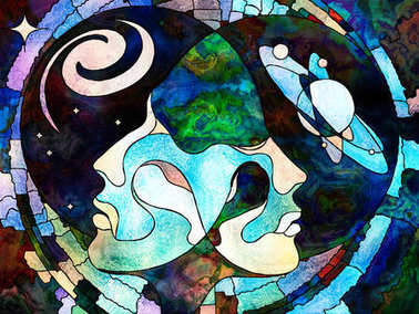Stained Glass Forever series. Lover's heads looking into each other, amidst colorful patterns and symbols of the Universe on the subject of education, knowledge and mutual unity. stock vector