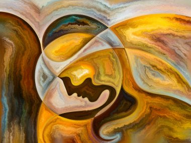 Human Texture series. Creative arrangement of human face, rich colors, organic textures, flowing curves as a concept metaphor on subject of inner world, mind, soul and Nature