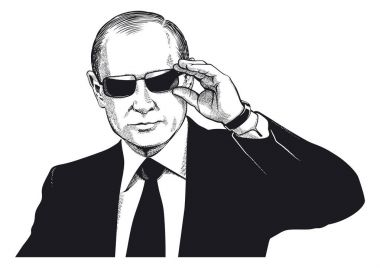 Vladimir Putin. Scratch style portrait