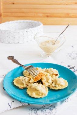 Ravioli blue plate cotton tablecloth