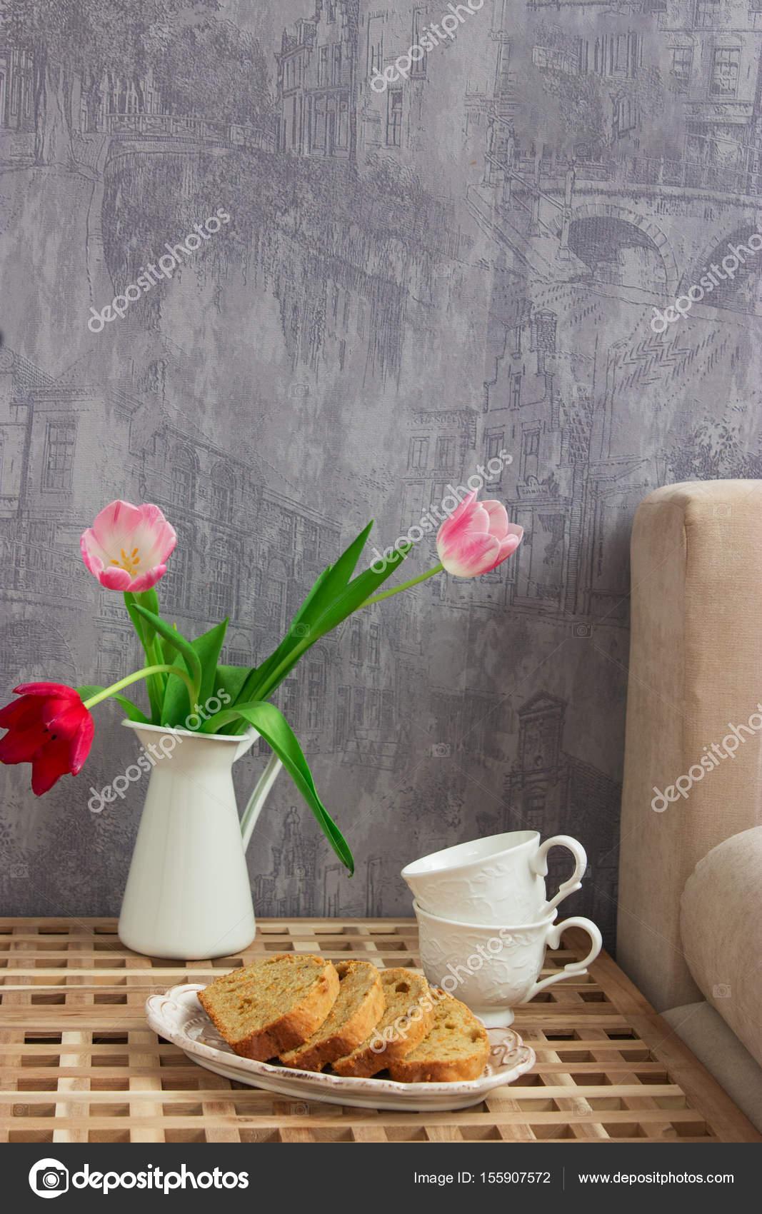 Zitronen Kuchen Tisch Bett — Stockfoto © Spring_melody #155907572