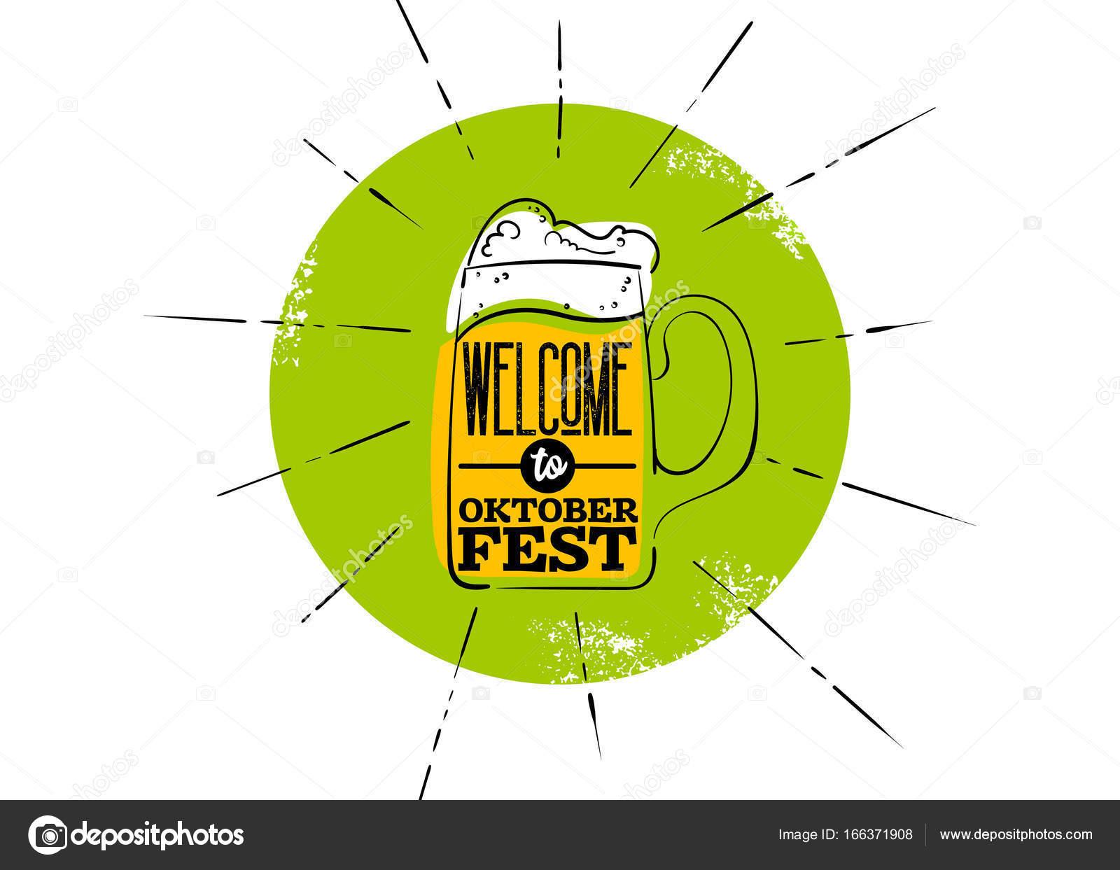 Oktoberfest Wohnung Symbol Grüne Plakette Mit Rochen Becher Bier