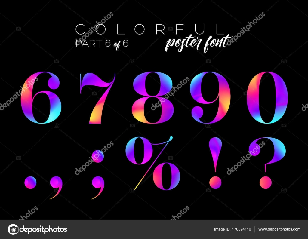 Colorful Bright Neon Typeset Electric Pink Purple Blue Colors