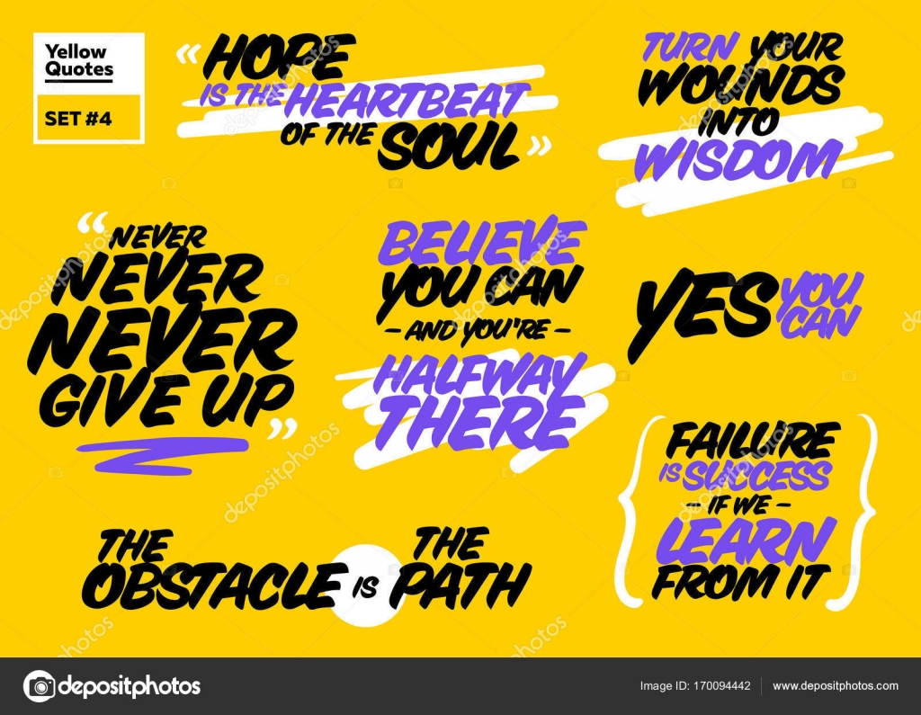 Vector Set Of Short Positive Quotes Motivational Cards With