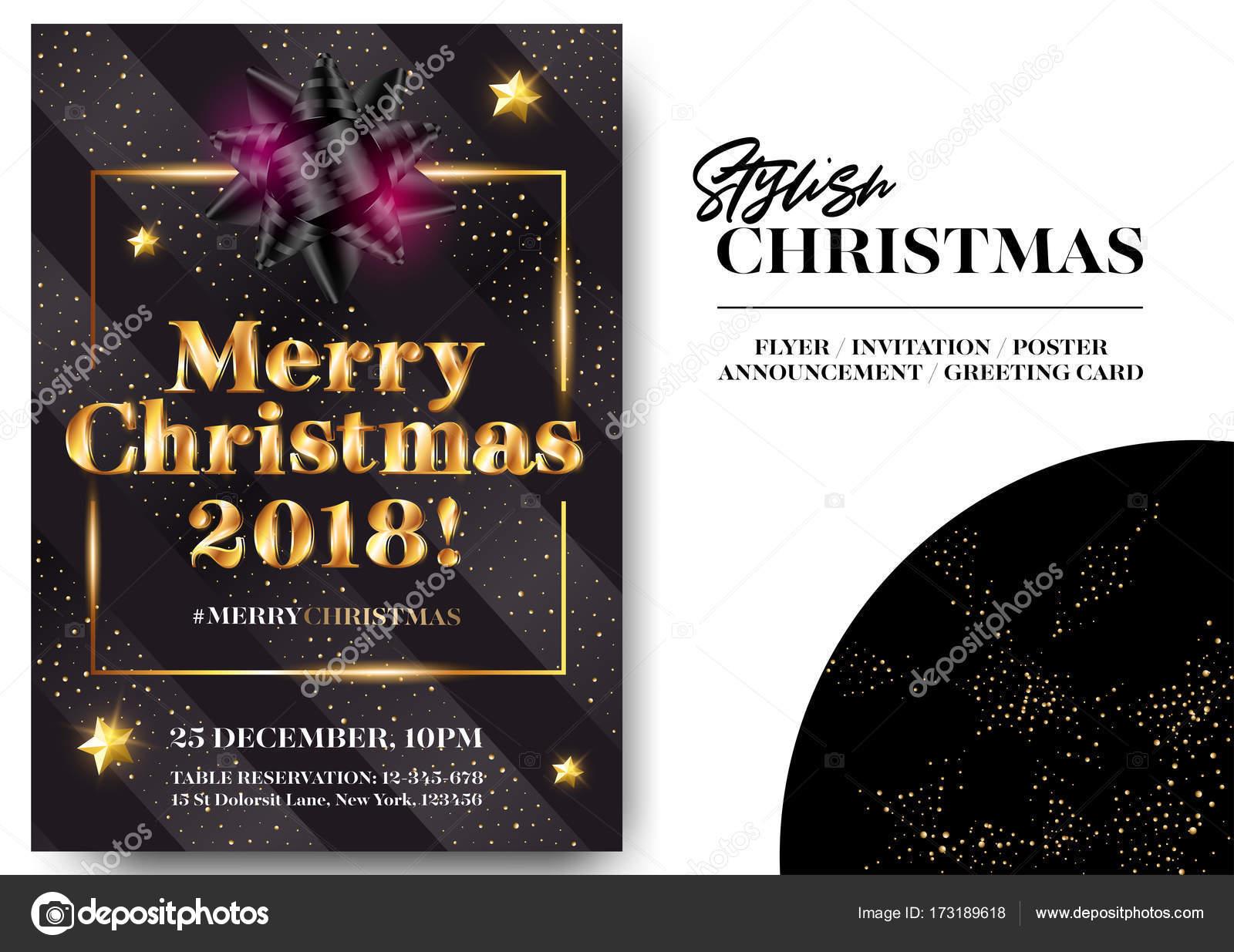 carte invitation noel 2018 Design élégant noir carte de voeux de joyeux Noël 2018. Modèle  carte invitation noel 2018