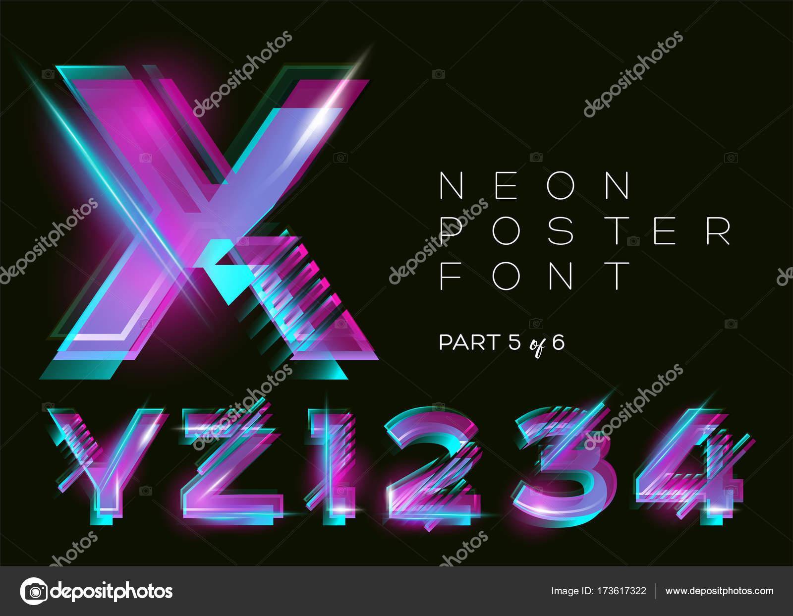 Tarjetas Invitacion 15 Años Neon Tipo De Neón De Vector