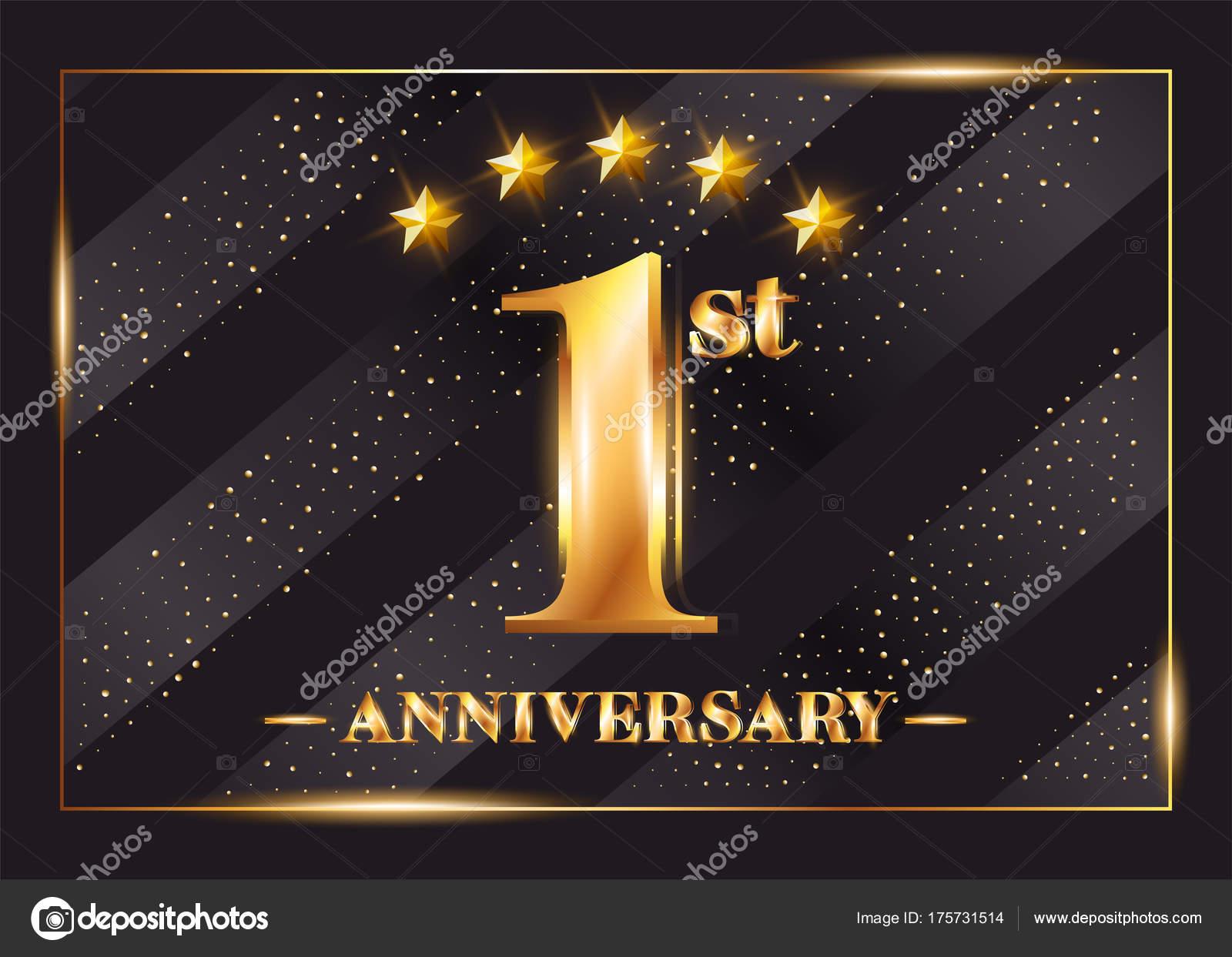 Logo de Vector de celebración de aniversario de 1 año. 1er ...
