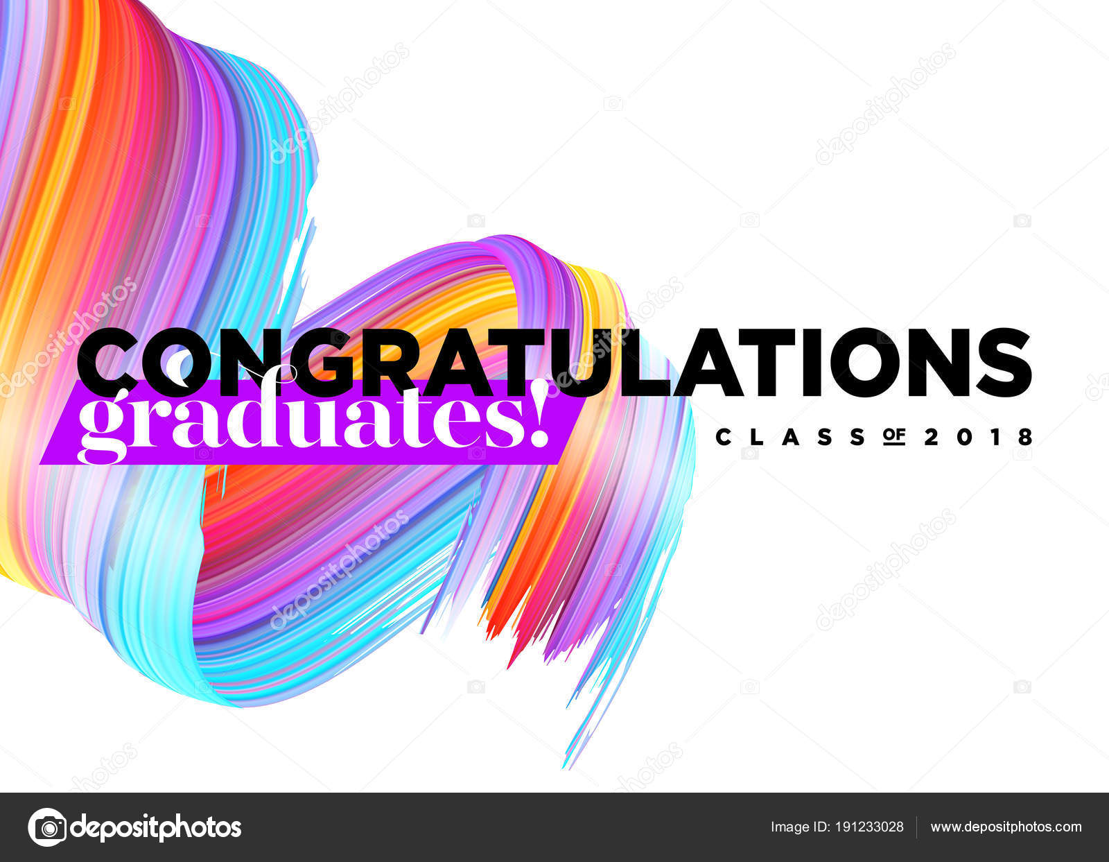 Congratulations Graduates Class of 2018 Vector Logo. Creative Party ...
