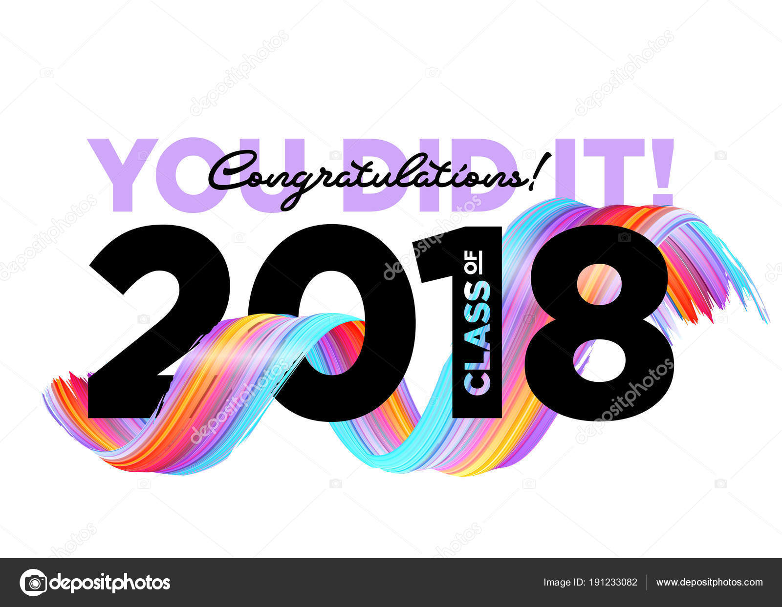 congratulations graduates class of 2018 vector logo creative party