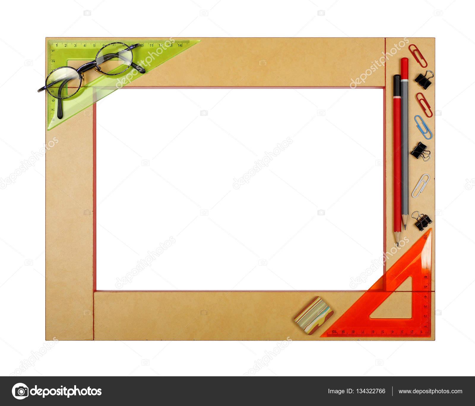Marco de la escuela de arte amarillo con papelería — Foto de stock ...