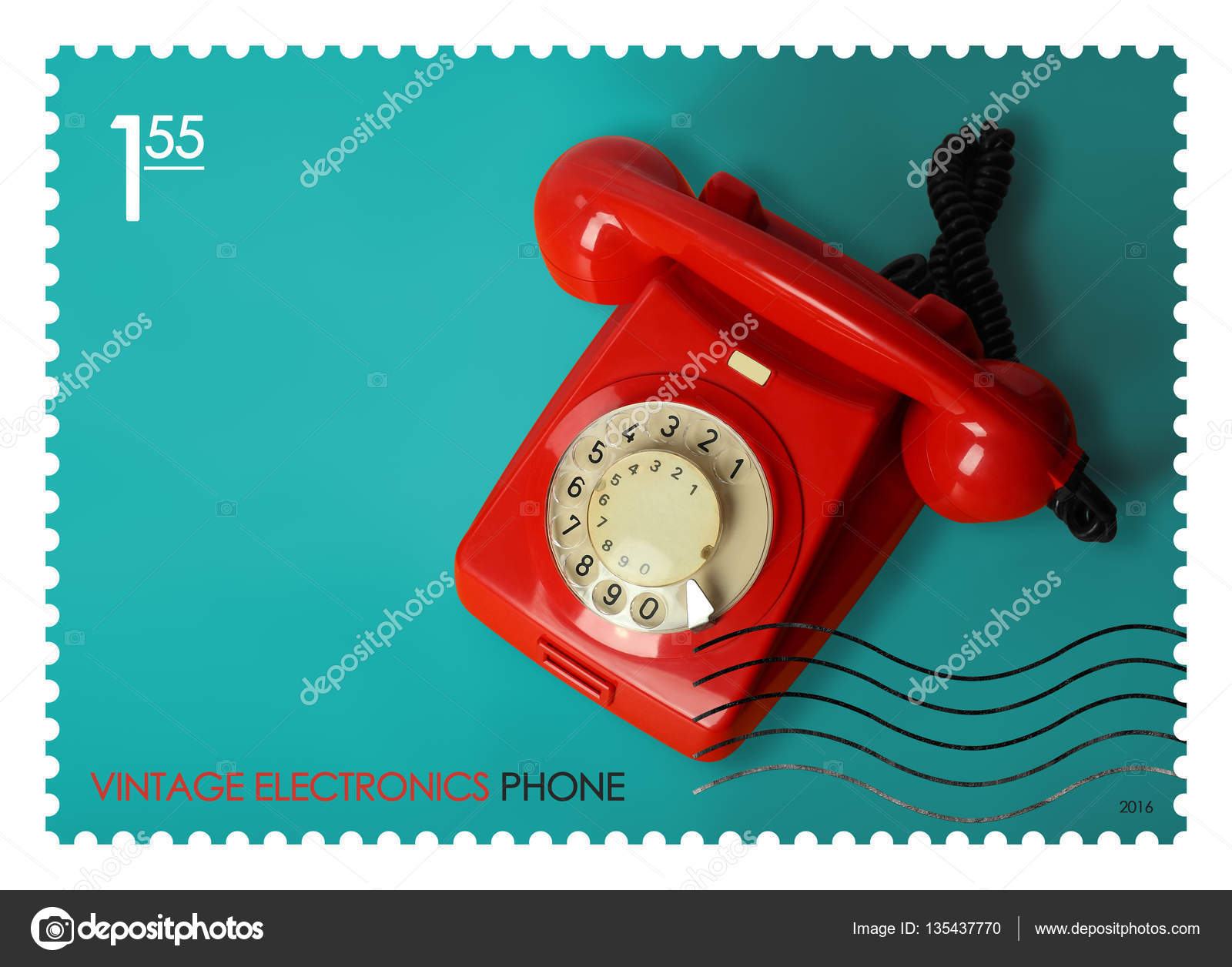 Sello de correos tel fono retro foto de stock for Telefono oficina de correos