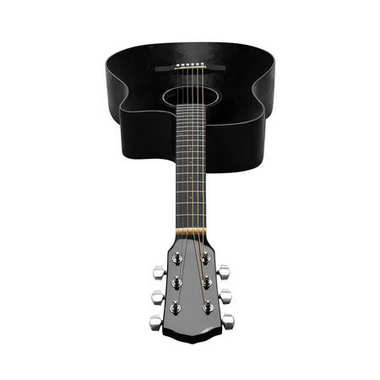 Musical instrument - Front black acoustic guitar. Isolated