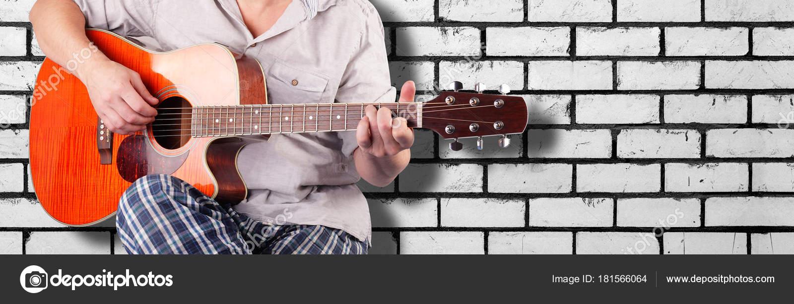 Music Orange Electric Acoustic Guitar Player Chord C White Bri