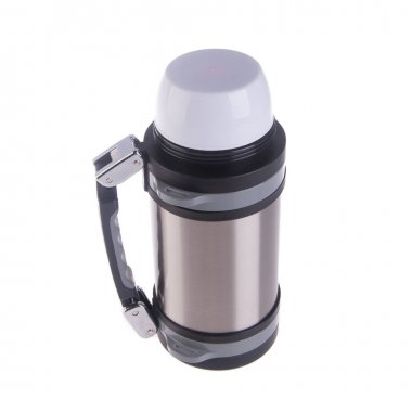 Thermo or Thermo flask from stainless steel on background new.